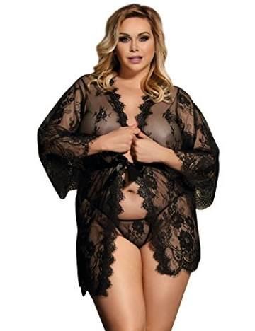ohyeahlady Damen Kimono Spitzen Robe Volant Langarm Transparent Weiter Ärmel Reizwäsche Nachtwäsche MorgenmantelBademantelDessous Set mit G-String Gürtel(Schwarz,XL-2XL) - 5
