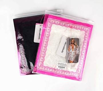 ohyeahlady Damen Kimono Spitzen Robe Volant Langarm Transparent Weiter Ärmel Reizwäsche Nachtwäsche MorgenmantelBademantelDessous Set mit G-String Gürtel(Schwarz,XL-2XL) - 6