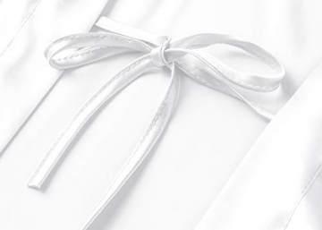 PRODESIGN Damen Morgenmantel Kurz Kimono Lace Ärmel Sommer Satin Bademantel Einfarbig Spitze Robe Sexy Nachtwäsche Damen Schlafanzug Leicht Girl Pajama Party (Weiß) - 4