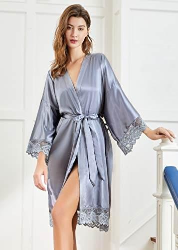 PRODESIGN Damen Morgenmantel Kurz Kimono Lace Ärmel Sommer Satin Bademantel Einfarbig Spitze Robe Sexy Nachtwäsche Damen Schlafanzug Leicht Girl Pajama Party (Weiß) - 6