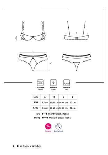 Selente Love & Fun verführerisches 3-teiliges Damen Dessous-Set aus Bügel-Büstenhebe, Tanga & Satin-Augenbinde, Made in EU (L/XL, schwarz-Büstenhebe) - 7