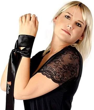 Selente Love & Fun verführerisches 4-teiliges Damen Dessous-Set, Made in EU,in Kunst-Leder aus BH, Rock, Tanga & exklusiver Satin-Augenbinde, schwarz Wet-Look Gr. XXL/3XL - 4