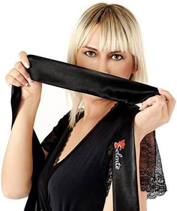 Selente Love & Fun verführerisches 4-teiliges Damen Dessous-Set, Made in EU,in Kunst-Leder aus BH, Rock, Tanga & exklusiver Satin-Augenbinde, schwarz Wet-Look Gr. XXL/3XL - 5