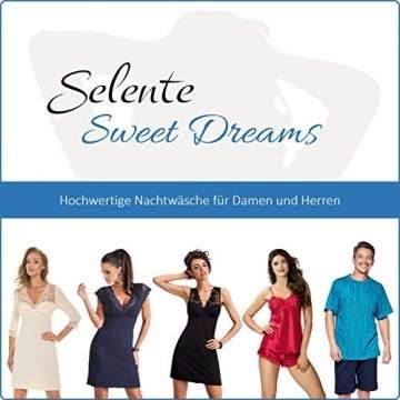 Selente Sweet Dreams hochwertiges Viskose-Negligee/Nachthemd/Sleepshirt mit zartem Blumenmotiv und zusätzlicher Satin-Augenbinde, Dunkelblau Kurzarm, Gr. 40 (L) - 5
