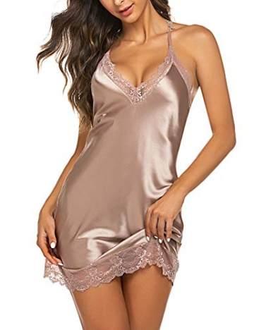 Sexy Nachtkleid Damen Babydoll Unterkleid Satin Nachtwäsche Dessous Nachthemd Spitze Babydoll Träger Lingerie Negligee V-Ausschnitt Sleepwear Kleid mit G-String Pink_M - 2