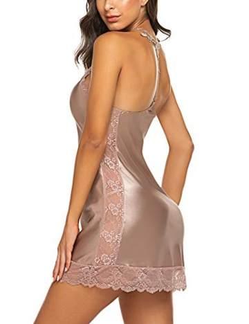 Sexy Nachtkleid Damen Babydoll Unterkleid Satin Nachtwäsche Dessous Nachthemd Spitze Babydoll Träger Lingerie Negligee V-Ausschnitt Sleepwear Kleid mit G-String Pink_M - 3