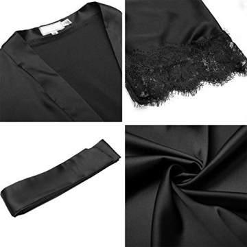 Unibelle Damen Morgenmantel Bademantel Satin Sexy Kimono mit Taschen Kurz Robe mit Gürtel Nachthemd für Braut Nachtwäsche Mit Blumenspitze - 7