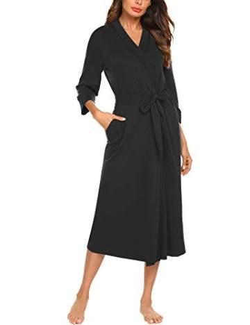 Unibelle Damen Morgenmantel Damen Sexy Baumwolle Saunamantel Bademantel Nachtwäsche Kimono Schlafanzug Herbst Schwarz S - 1