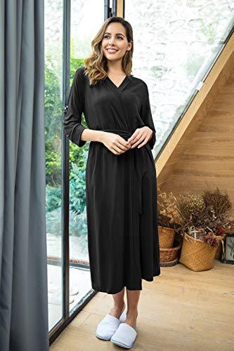 Unibelle Damen Morgenmantel Damen Sexy Baumwolle Saunamantel Bademantel Nachtwäsche Kimono Schlafanzug Herbst Schwarz S - 5