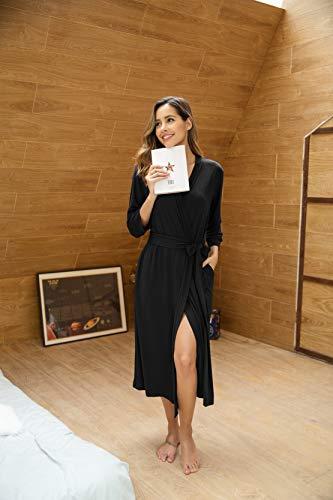 Unibelle Damen Morgenmantel Damen Sexy Baumwolle Saunamantel Bademantel Nachtwäsche Kimono Schlafanzug Herbst Schwarz S - 6