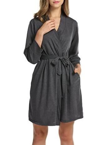 UNibelle Damen Morgenmantel Kurz aus Baumwolle Dünn 3/4 Ärmel Bademantel Kimono Saunamantel Robe Negligee Mit V-Ausschnitt Sommer - 3