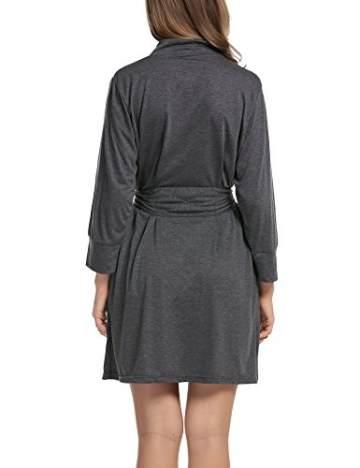 UNibelle Damen Morgenmantel Kurz aus Baumwolle Dünn 3/4 Ärmel Bademantel Kimono Saunamantel Robe Negligee Mit V-Ausschnitt Sommer - 6