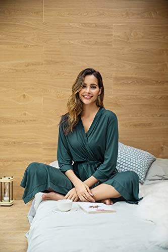 UNibelle Damen Morgenmantel Lange Ärmel Bademantel Kimono Baumwolle Saunamantel V-Ausschnitt Nachtwäsche M A-dunkelgrün - 2