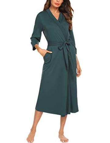 UNibelle Damen Morgenmantel Lange Ärmel Bademantel Kimono Baumwolle Saunamantel V-Ausschnitt Nachtwäsche M A-dunkelgrün - 1