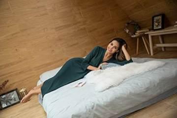 UNibelle Damen Morgenmantel Lange Ärmel Bademantel Kimono Baumwolle Saunamantel V-Ausschnitt Nachtwäsche M A-dunkelgrün - 5
