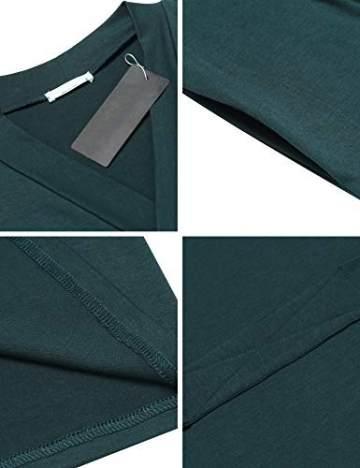 UNibelle Damen Morgenmantel Lange Ärmel Bademantel Kimono Baumwolle Saunamantel V-Ausschnitt Nachtwäsche M A-dunkelgrün - 6