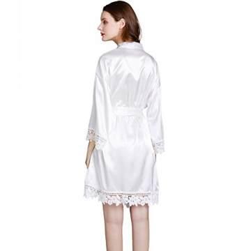 Westkun Damen Morgenmantel Bademantel Satin Sexy V-Ausschnitt Kimono Kurz Robe mit Gürtel Nachthemd für Braut Nachtwäsche Mit Blumenspitze(Weiß,o) - 3