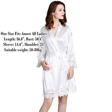 Westkun Damen Morgenmantel Bademantel Satin Sexy V-Ausschnitt Kimono Kurz Robe mit Gürtel Nachthemd für Braut Nachtwäsche Mit Blumenspitze(Weiß,o) - 4