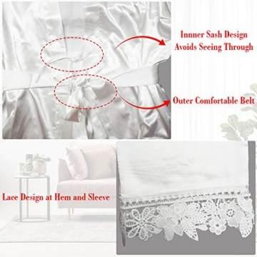 Westkun Damen Morgenmantel Bademantel Satin Sexy V-Ausschnitt Kimono Kurz Robe mit Gürtel Nachthemd für Braut Nachtwäsche Mit Blumenspitze(Weiß,o) - 5