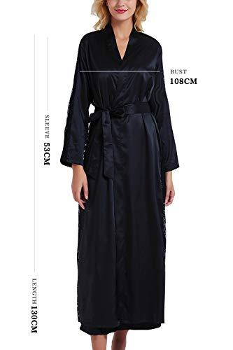 YAOMEI Damen Morgenmantel Bademäntel Satin Kimono, Lang Spitze Nachtwäsche Nachthemd Robe Kimono Negligee Schlafanzug für Spa Hotel Braut Brautjungfer, Party (Büste 108cm, 42,52 Zoll, Schwarz) - 2