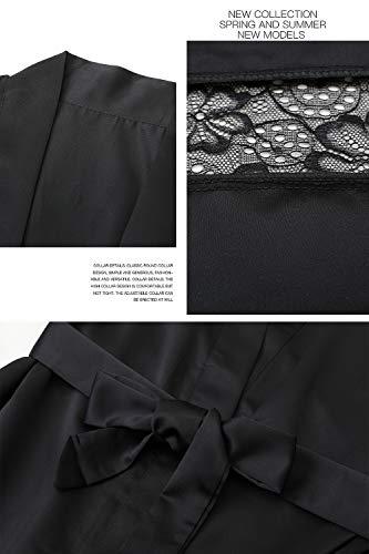 YAOMEI Damen Morgenmantel Bademäntel Satin Kimono, Lang Spitze Nachtwäsche Nachthemd Robe Kimono Negligee Schlafanzug für Spa Hotel Braut Brautjungfer, Party (Büste 108cm, 42,52 Zoll, Schwarz) - 3
