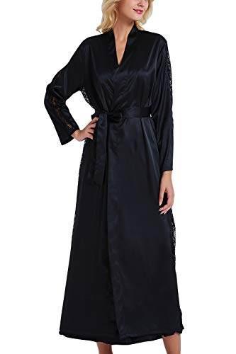 YAOMEI Damen Morgenmantel Bademäntel Satin Kimono, Lang Spitze Nachtwäsche Nachthemd Robe Kimono Negligee Schlafanzug für Spa Hotel Braut Brautjungfer, Party (Büste 108cm, 42,52 Zoll, Schwarz) - 1