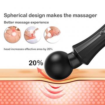 Acvioo Massagestab Handheld Wand Wireless Electric Magic Massager Silikon Wiederaufladbar mit 20 Verschiedene Vibrationsarten für Nacken/Schulter/Rücken/Bein/Fuß - 5