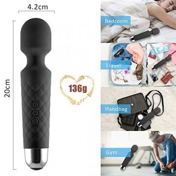H&L Handheld Wand Massagegerät Massagestab Kabelloser Elektrisch, 20 Modi 8 Geschwindigkeiten, Persönliches Körper Massager für Rücken Nacken Schulter Beine Arme, USB Ladefunktion, Schwarz - 5