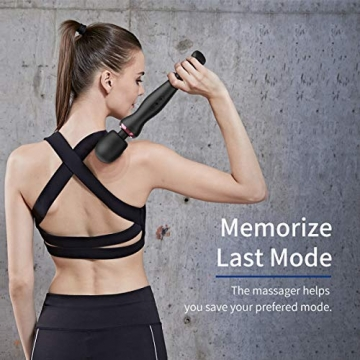 iDOO Magic Wand Massagestab mit 8 Geschwindigkeiten, 20 Mustern, schnurlos und handgehalten, USB wiederaufladbar für Schulterentlastung im Nacken, Schwarz - 2