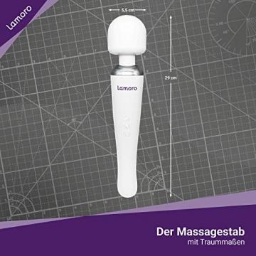 Kabelloser Massagestab von Lamoro- Stärkste Vibrationskraft mit 20 Modi für verschiedene Muskelschmerzen - 5 Stunden Akku - wiederaufladbar per USB - Curve - White - 4