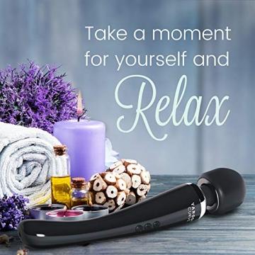Kabelloser Massagestab von Yarosi - Stärkste Therapeutische Vibrationskraft - Magischer Stressfreier - Bestens bewertet Muskelschmerzen und Erholung nach Ihrem Sportprogramm - USB - Curve - Schwarz - 2