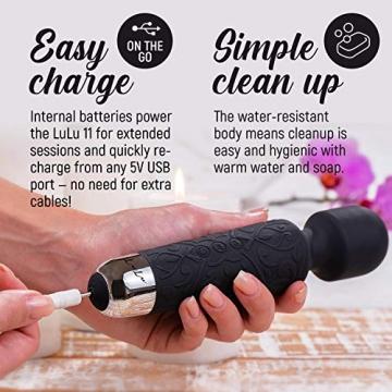 LuLu 11 Massage Wand Massagestab kabelloser elektrisch Memory Edition - Leise und Stark - 20 Verschiedene Vibrationsarten 5 Geschwindigkeiten - inkl. Reisetasche - 4