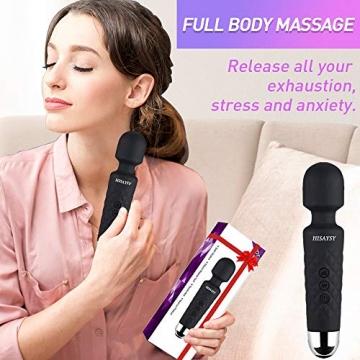 Massagestab Handheld Silikon Massagegerät mit 8 kraftvolle Geschwindigkeiten 20 intensiv Vibrationsmodi,Massage für Körper Nacken Schulter Rücken Arme und Beine Fuß, USB Wiederaufladbar - 2