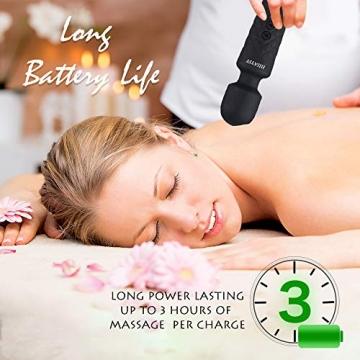 Massagestab Handheld Silikon Massagegerät mit 8 kraftvolle Geschwindigkeiten 20 intensiv Vibrationsmodi,Massage für Körper Nacken Schulter Rücken Arme und Beine Fuß, USB Wiederaufladbar - 7