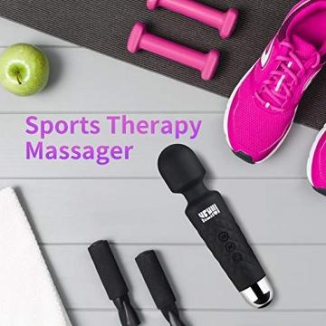 Massagestab HEHUI Handheld Silikon Massagegerät mit 8 kraftvolle Geschwindigkeiten 20 intensiv Vibrationsmodi,Massage für Körper Nacken Schulter Rücken Arme und Beine Fuß, USB Wiederaufladbar - 5