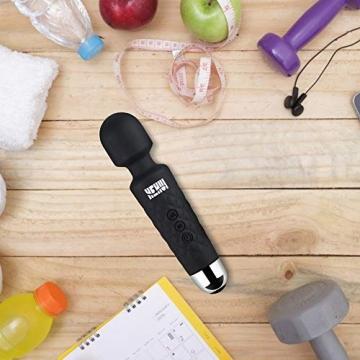 Massagestab HEHUI Handheld Silikon Massagegerät mit 8 kraftvolle Geschwindigkeiten 20 intensiv Vibrationsmodi,Massage für Körper Nacken Schulter Rücken Arme und Beine Fuß, USB Wiederaufladbar - 8
