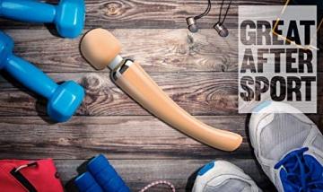 Oliver James Massage Wand Große Massagestab kabelloser elektrisch - 20 Verschiedene Vibrationsarten 8 Geschwindigkeiten - inkl. Reisetasche - Ideal nach dem Sport (Pfirsich) - 5