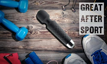 Oliver James Massage Wand Massagestab kabelloser elektrisch - 20 Verschiedene Vibrationsarten 8 Geschwindigkeiten - inkl. Reisetasche (Schwarz) - 2
