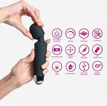 Oliver James Massage Wand Massagestab kabelloser elektrisch - 20 Verschiedene Vibrationsarten 8 Geschwindigkeiten - inkl. Reisetasche (Schwarz) - 4