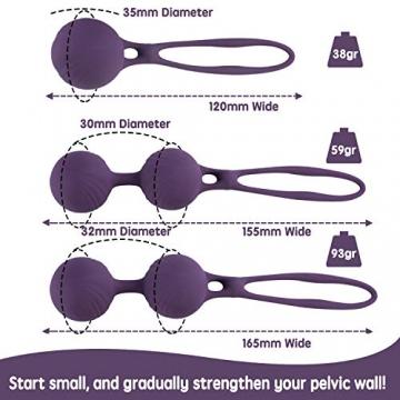 RAVLOVE Premium Liebeskugeln - Silikon Liebeskugeln Metall Beckenbodentraining Stärkung der Vaginalmuskulatur - 3 Premium Ben Wa Balls Beckenboden Gewichte Übung Bälle für Frauen - 2
