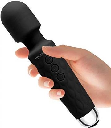 Roysmart Massage Wand Massagestab kabelloser elektrisch - 20 Verschiedene Vibrationsarten 8 Geschwindigkeiten - Perfekt f¨¹r Muskelschmerzen und Erholung nach Ihrem Sportprogramm (Black) - 1