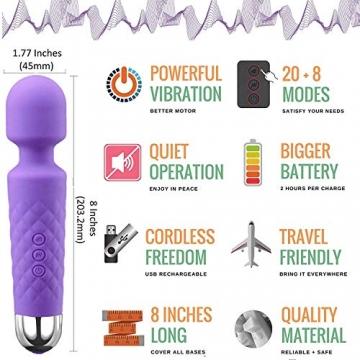 YUECHAO Handheld Massagegerät Vibration, Kabellos Silikon Massager Wand mit 8 * 20 Vibrationsmodi, Wasserdicht Massagestab für Hals Schulter Muskel Nacken, USB Wiederaufladbar, Violett MEHRWEG - 4