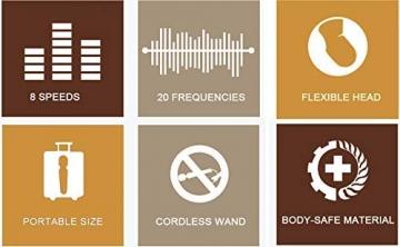 YUECHAO Handheld Massagegerät Vibration, Kabellos Silikon Massager Wand mit 8 * 20 Vibrationsmodi, Wasserdicht Massagestab für Hals Schulter Muskel Nacken, USB Wiederaufladbar, MEHRWEG - 3