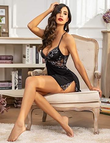 ADOME Damen Negligee Sexy Nachtwäsche Sleepwear Nachthemd Spitze Nachtkleid Lingerie Babydoll Dessous Unterwäsche Reizwäsche BH mit String,A-Schwarz,XL - 3