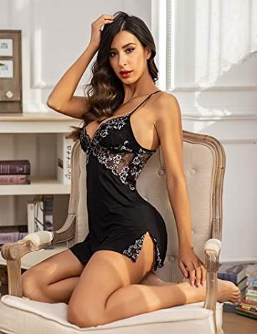 ADOME Damen Negligee Sexy Nachtwäsche Sleepwear Nachthemd Spitze Nachtkleid Lingerie Babydoll Dessous Unterwäsche Reizwäsche BH mit String,A-Schwarz,XL - 4