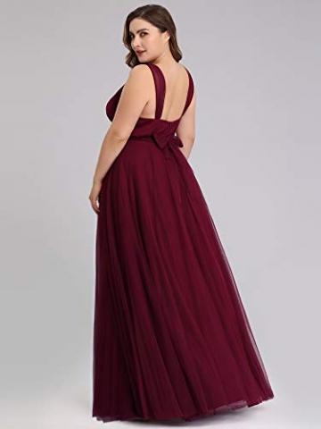 Ever-Pretty Damen Abendkleid A-Linie V-Ausschnitt tüll Ärmellos Hochzeit für Brautjungfern Burgund 50 - 2