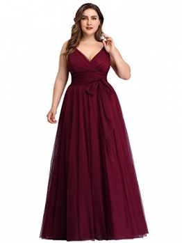 Ever-Pretty Damen Abendkleid A-Linie V-Ausschnitt tüll Ärmellos Hochzeit für Brautjungfern Burgund 50 - 1