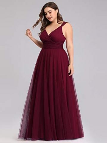Ever-Pretty Damen Abendkleid A-Linie V-Ausschnitt tüll Ärmellos Hochzeit für Brautjungfern Burgund 50 - 5