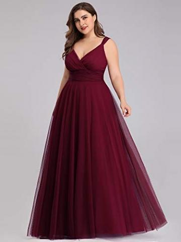 Ever-Pretty Damen Abendkleid A-Linie V-Ausschnitt tüll Ärmellos Hochzeit für Brautjungfern Burgund 50 - 6