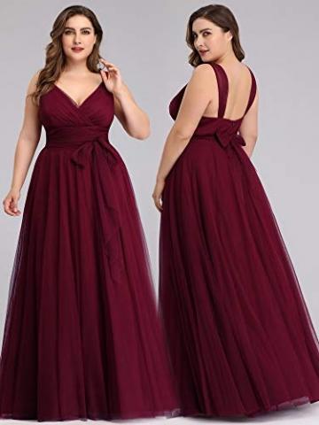 Ever-Pretty Damen Abendkleid A-Linie V-Ausschnitt tüll Ärmellos Hochzeit für Brautjungfern Burgund 50 - 8